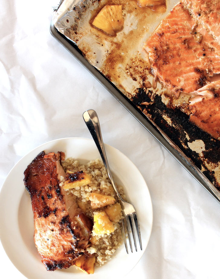 brown sugar honey marinated salmon with caramelized pineapple quinoa recipe
