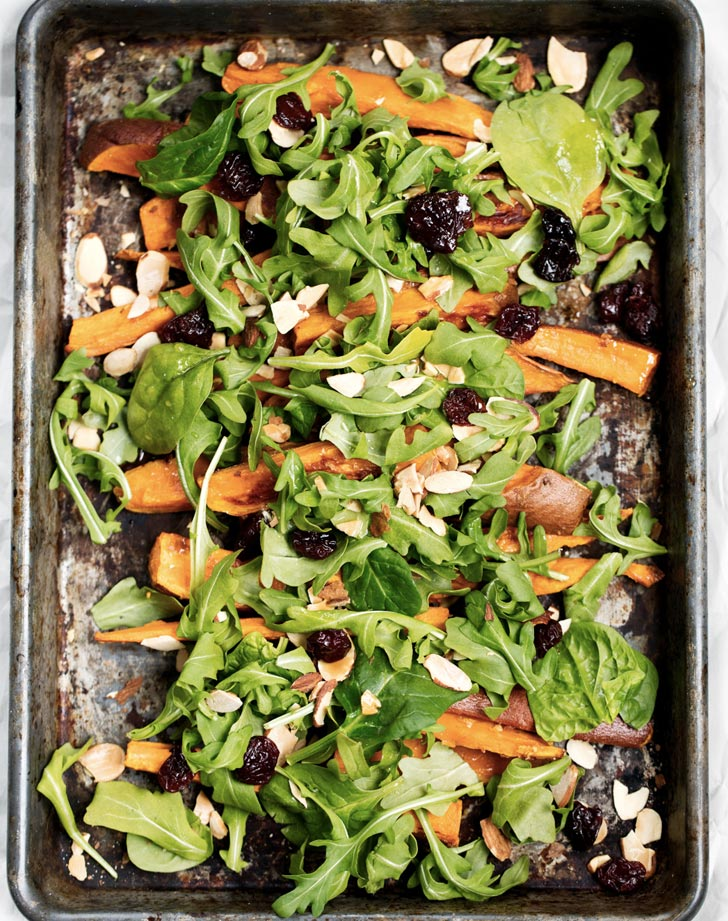 garlic roasted sweet potato and arugula salad with turmeric honey mustard dressing recipe