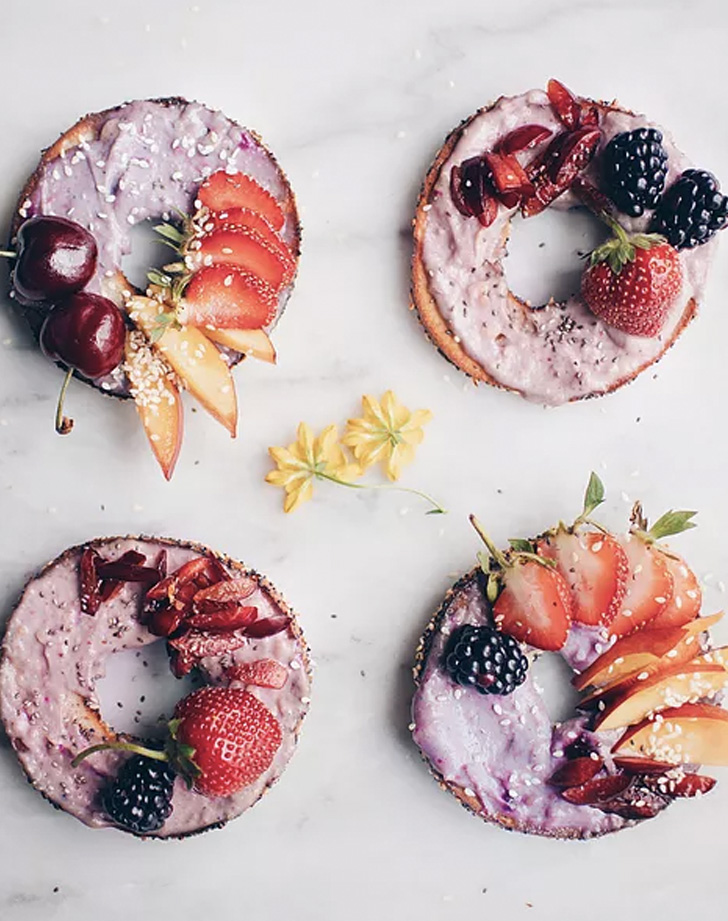 superfood sweet toasts with lavender lemon chashew cream cheese recipe