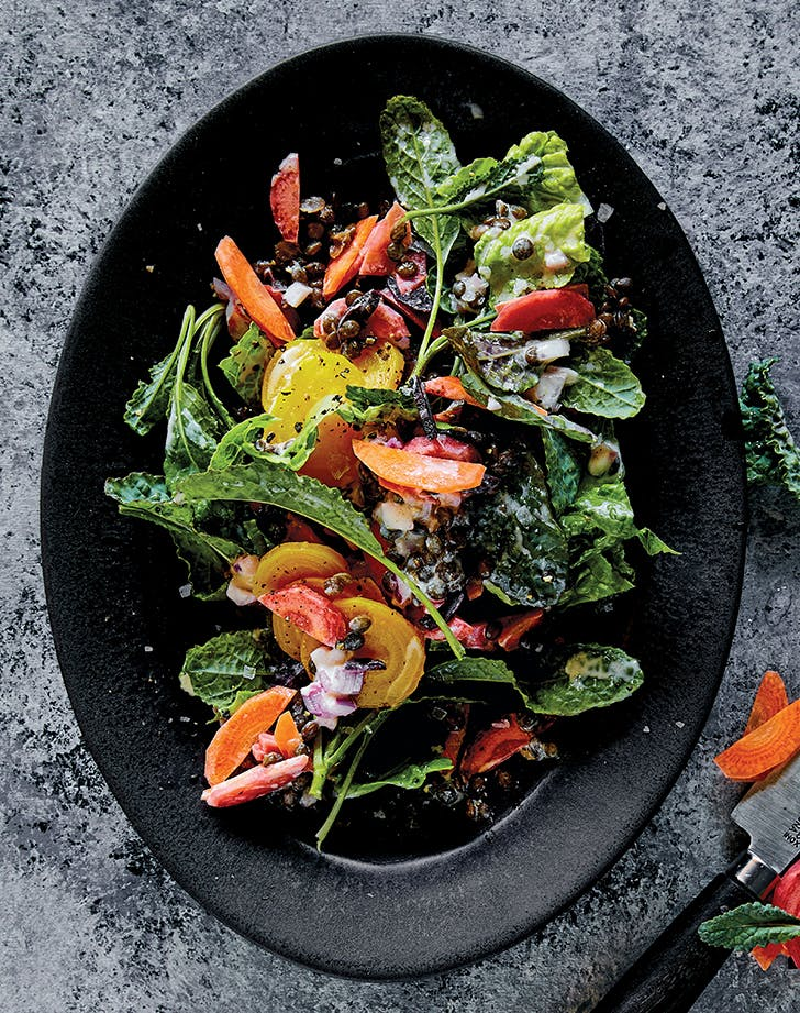 lemon tahini salad with lentils beets and carrots recipe