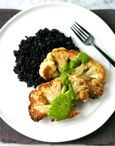 Cauliflower Steaks with Lemon-Herb Sauce
