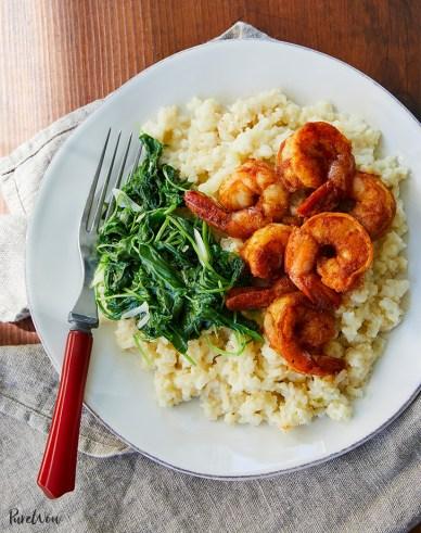"Shrimp with Cauliflower ""Grits"" and Arugula"
