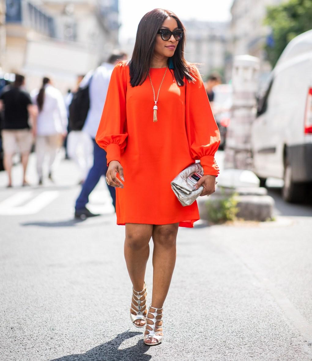 woman wearing a red mini dress