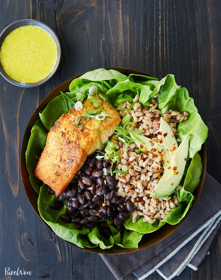 Salmon Bowl with Farro  Black Beans and Tahini Dressing