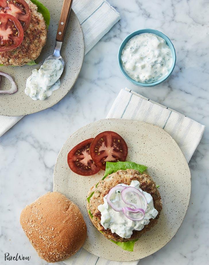 Greek Turkey Burgers With Tzatziki Sauce Recipe