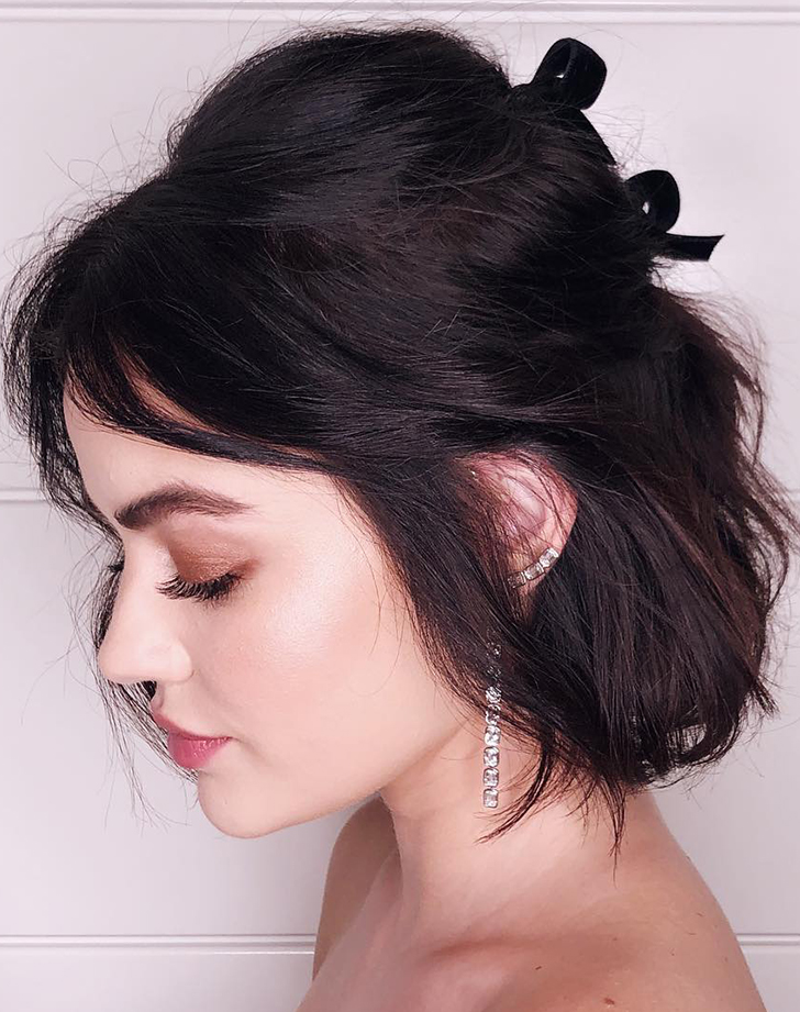 lucy hale half up half down hairstyles