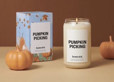 fall candles homesick pumpkin picking