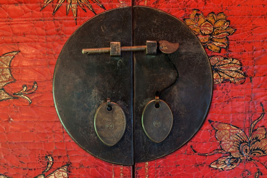 Bronze latch of old storage cabinet with chinese traditional painting