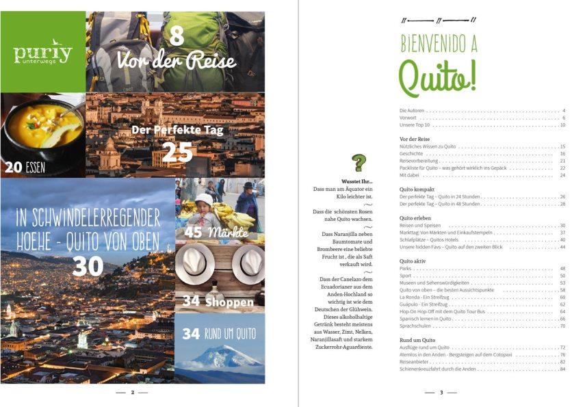 Inhaltsverzeichnis, pur Quito Stadtführer