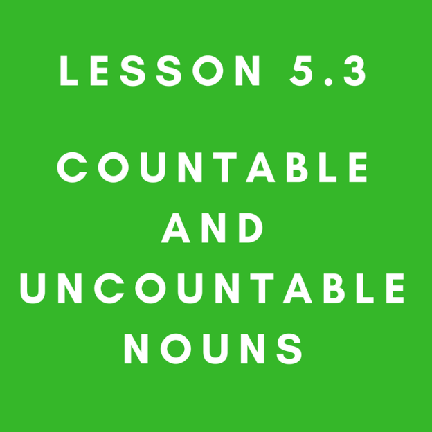 Lesson 5.3 Countable and Uncountable Nouns