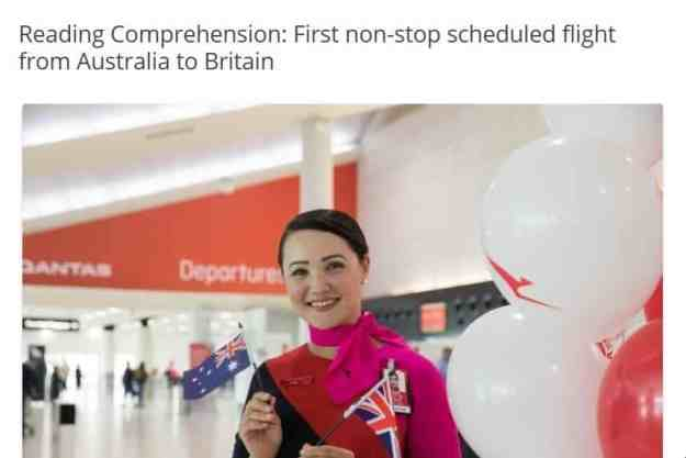 NEW! Reading Comprehension: First non-stop scheduled flight from Australia to Britain