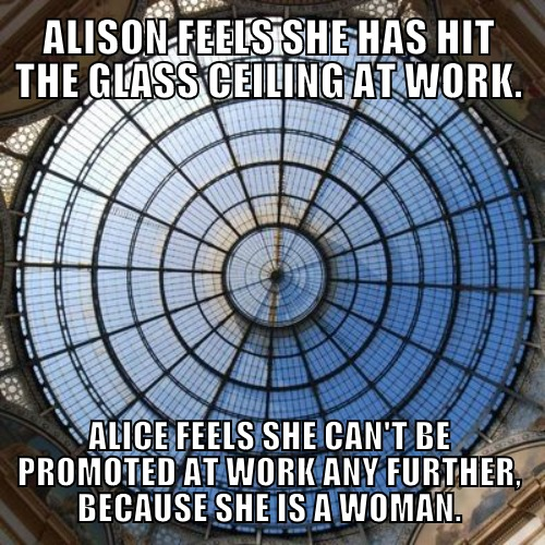 To hit the glass ceiling = To reach an artificial limit of promotion, usually due to race, or gender
