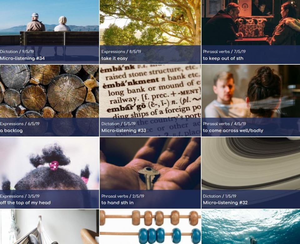 The site features a wide range of listening activities
