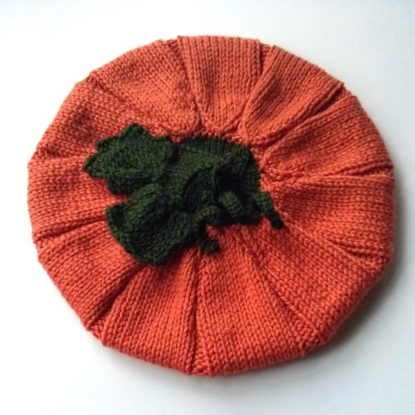 knitted pumpkin hat top