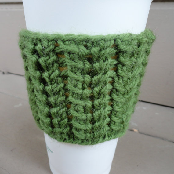 Spine Stitch Coffee Cup Sleeve detail green