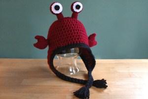 Hermit crab hat handmade crochet ear flap hat by PurlsAndPixels
