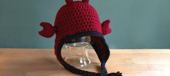 Hermit Crab Hat, Crochet animal ear flap hat