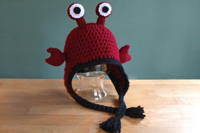 Hermit crab hat, crochet animal earflap hat by PurlsAndPixels