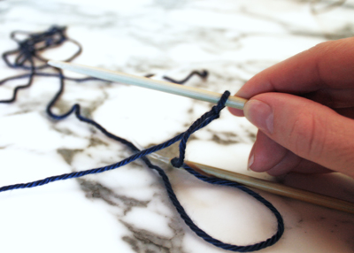 Step 2: Learn to knit a long tail cast on to put stitches on your needles