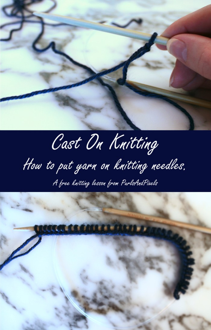 Cast on knitting, how to put stitches on needle. A free knitting lesson from PurlsAndPixels.