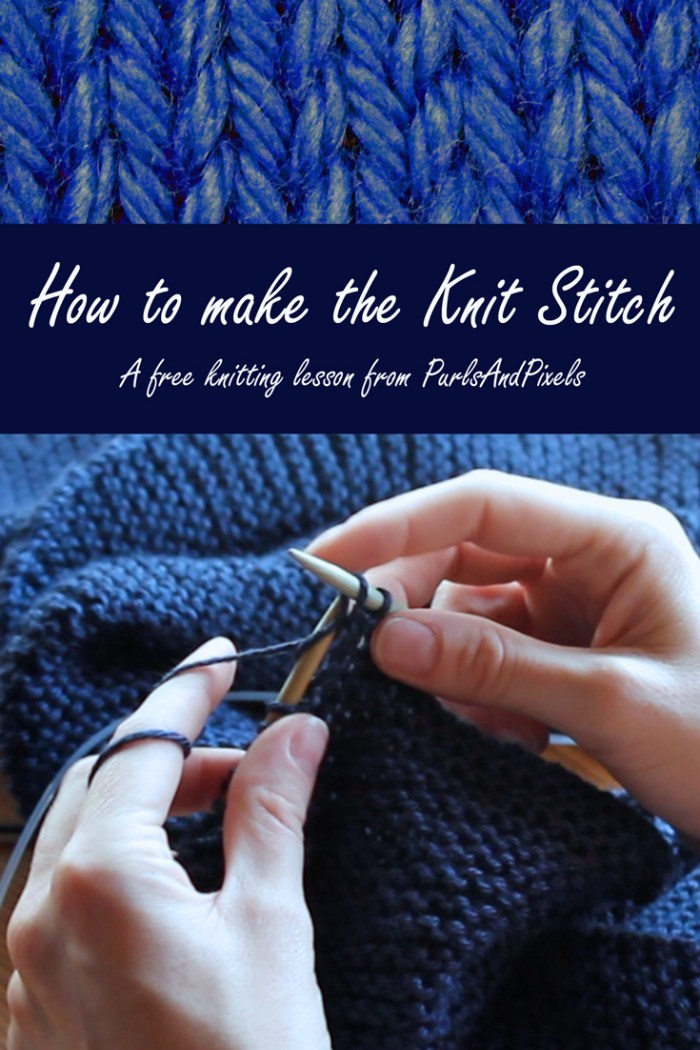 How to make the knit stitch, Free knitting lesson from Liz @PurlsAndPixels