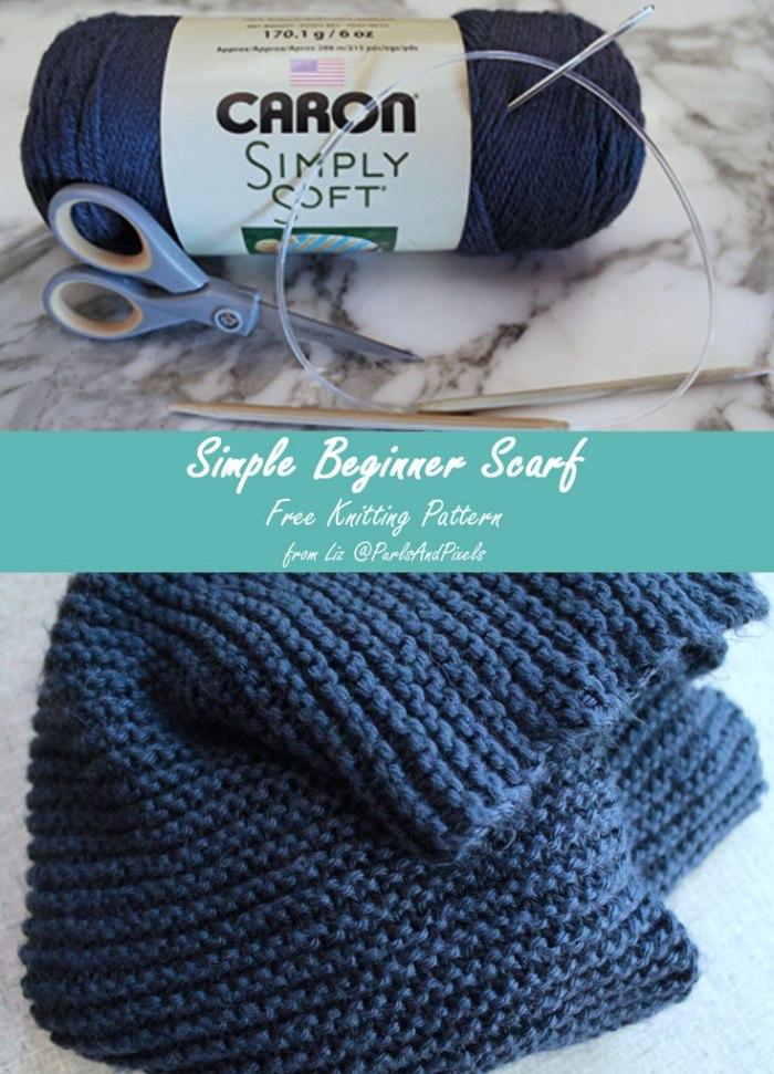 Simple beginner scarf, free knitting pattern from Liz @PurlsAndPixels