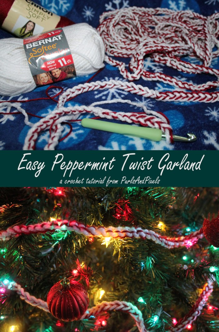 Beginner crochet peppermint christmas garland tutorial by Liz @PurlsAndPixels
