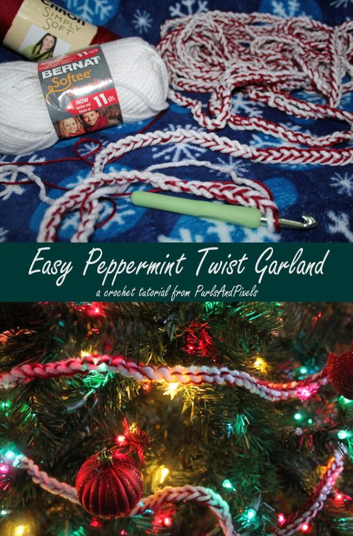 Beginner crochet peppermint christmas garland tutorial by Liz @PurlsAndPixels