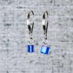 Jewelry by PurlsAndPixels, Blue pixel cube earrings