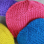 Chunky Knit Beanie Hats by PurlsAndPixels made with Caron Simply Soft yarn, great knitting project for left over yarn and scrap yarn