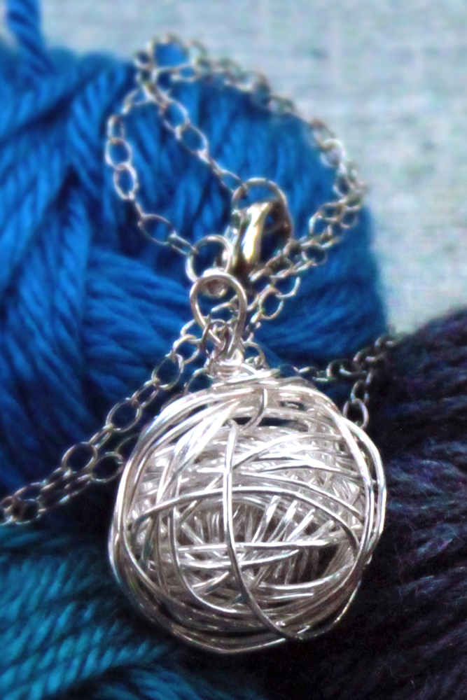 Handmade silver yarn necklace from PurlsAndPixels