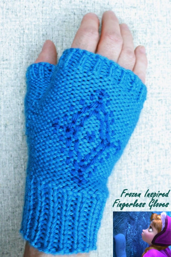 Anna's snowflake fingerless gloves, Disney's Frozen inspired cosplay mittens, by PurlsAndPixels