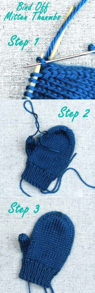 How to bind off a mitten thumb, knitting tips from Liz @PurlsAndPixels