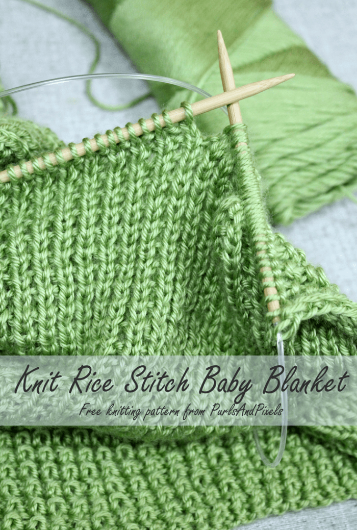 Rice Stitch Baby Blanket Free Knitting Pattern - PurlsAndPixels