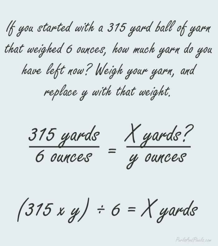 Yarn math, a simple formula to help you calculate yardage from yarn weight, tutorial from PurlsAndPixels