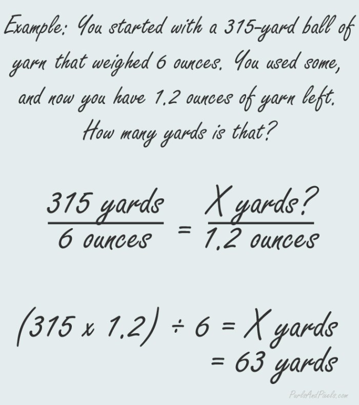 Example of how to find out the yards left of yarn just from yarn weight, from PurlsAndPixels