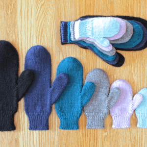 Simple knit mittens in all sizes knitting pattern from Liz @PurlsAndPixels