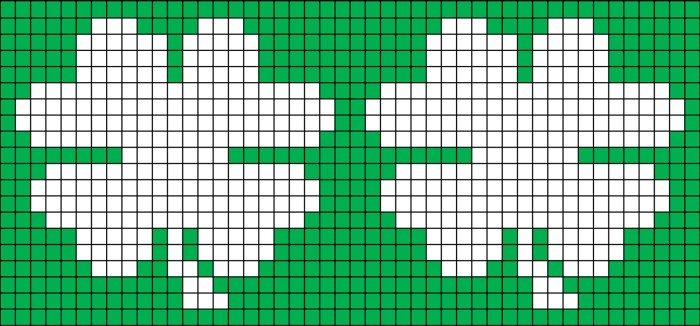 Free four leaf clover bottle cozy shamrock knitting chart and pattern from Liz @PurlsAndPixels