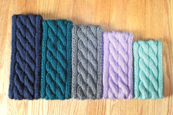 Double cable knit ear warmer headband knitting pattern by Liz @PurlsAndPixels