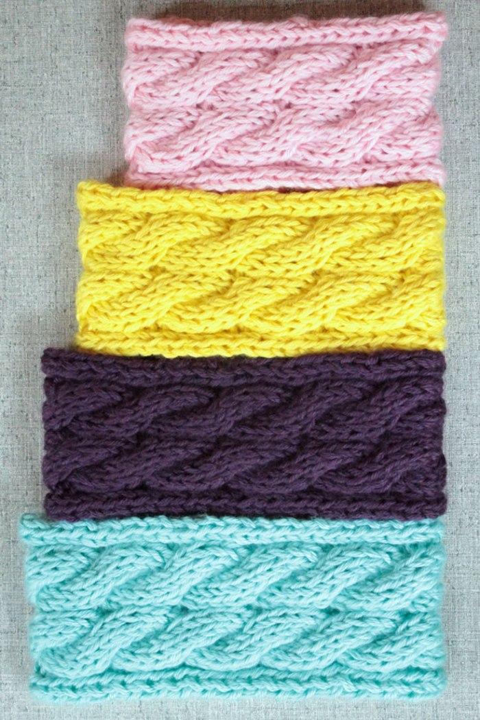 Cable Knit Ear Warmer Headbands, knitting pattern by Liz @PurlsAndPixels