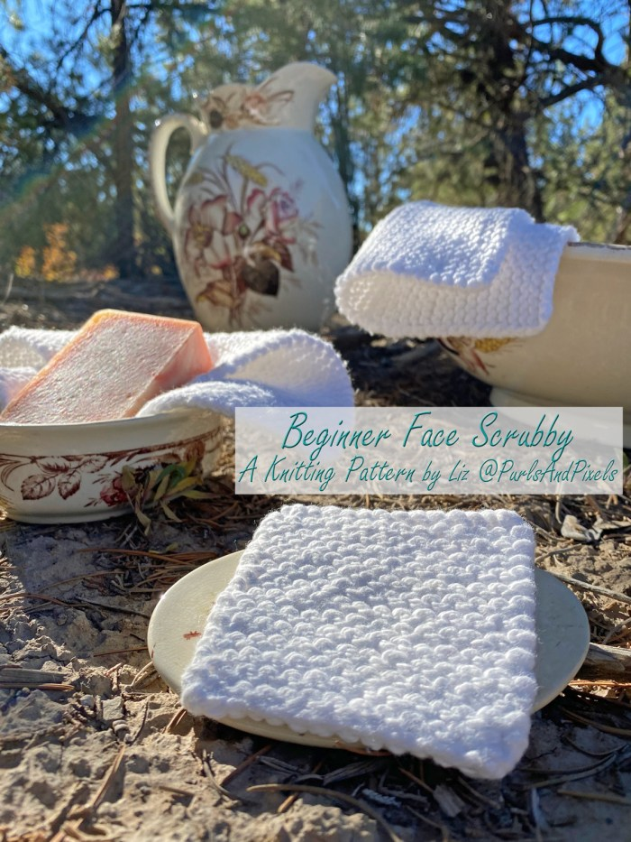 Free Beginner Face Scrubby knitting pattern by Liz @PurlsAndPixels.
