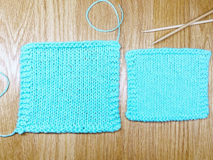 Finishing gauge swatches - wash a gauge swatch that is too big before you try different needles - a knitting lesson from Liz @PurlsAndPixels.