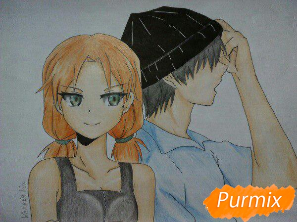 kak-narisovat-anime-devushku-i-parnya-karandashmi-pojetapno-14 Как нарисовать пару из Вокалоидов карандашом поэтапно