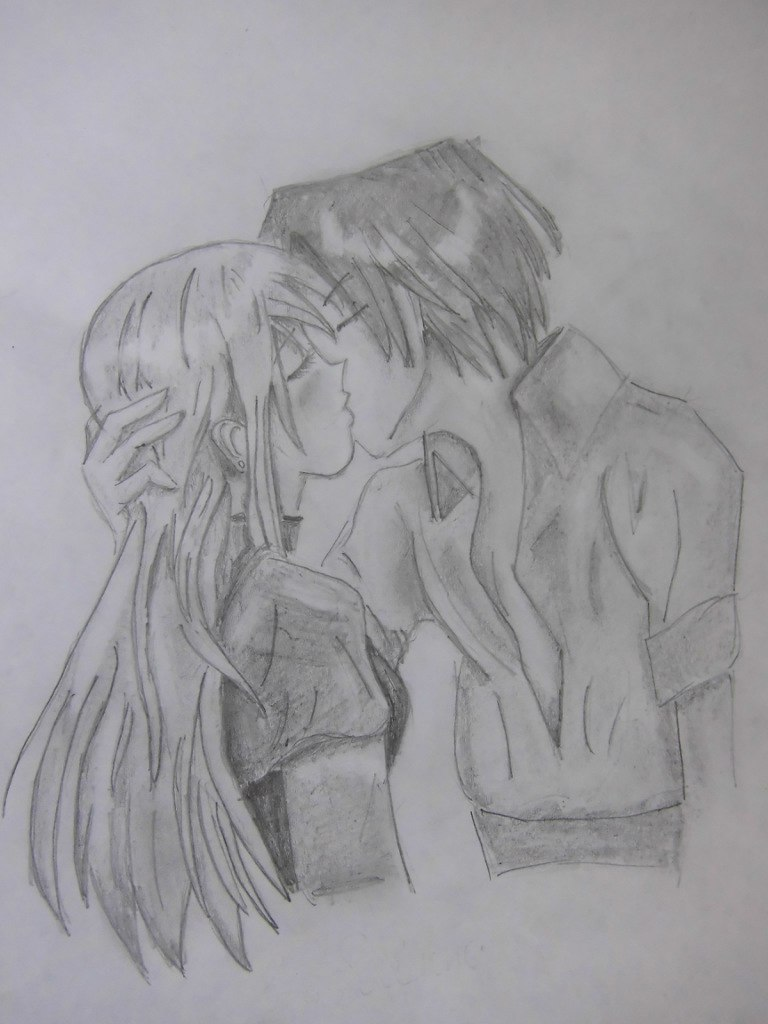 urok_risovanie_karandashom_celuyushhiesya_anime_pary-step-12 Как нарисовать пару из Вокалоидов карандашом поэтапно