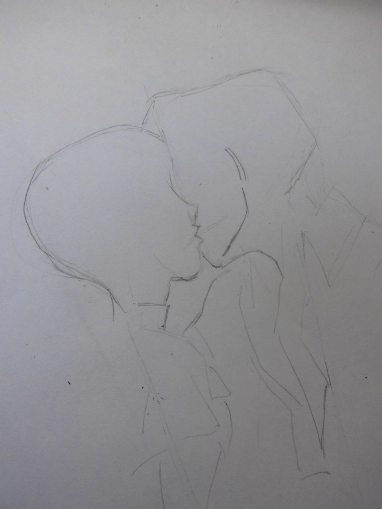 urok_risovanie_karandashom_celuyushhiesya_anime_pary-step-2 Как нарисовать пару из Вокалоидов карандашом поэтапно