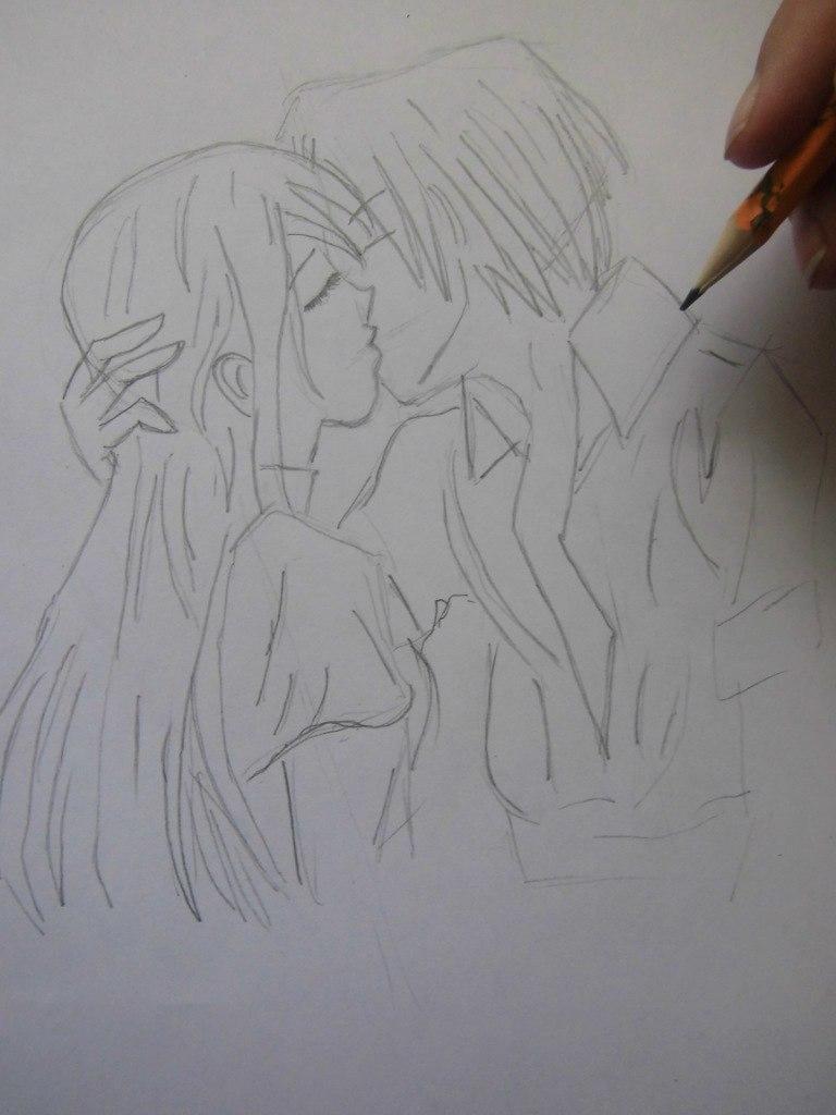 urok_risovanie_karandashom_celuyushhiesya_anime_pary-step-3 Как нарисовать пару из Вокалоидов карандашом поэтапно