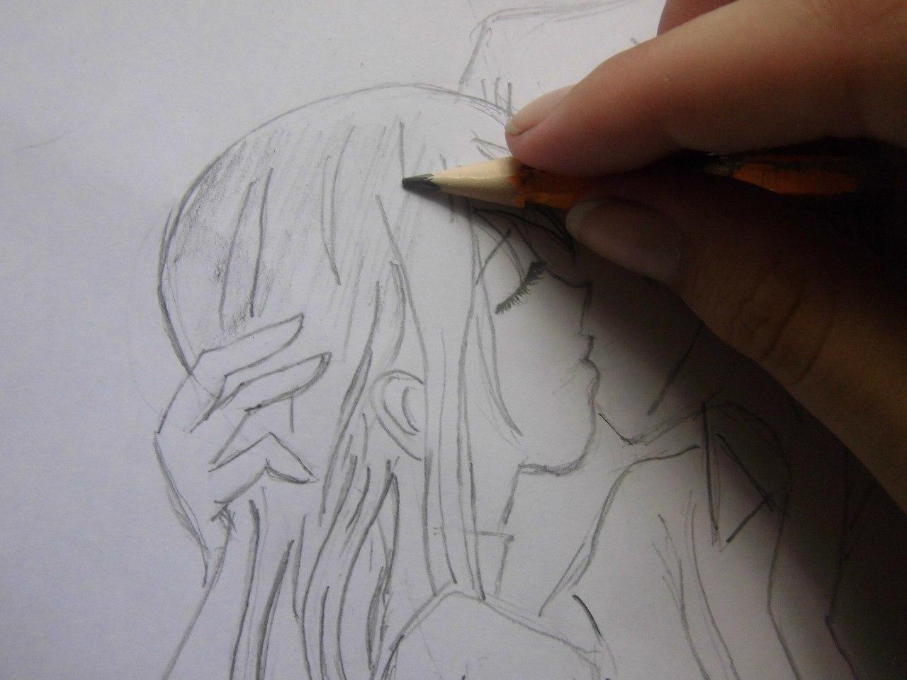 urok_risovanie_karandashom_celuyushhiesya_anime_pary-step-4 Как нарисовать пару из Вокалоидов карандашом поэтапно