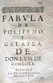 Manuscrito de la fábula de Polifemo y Galatea