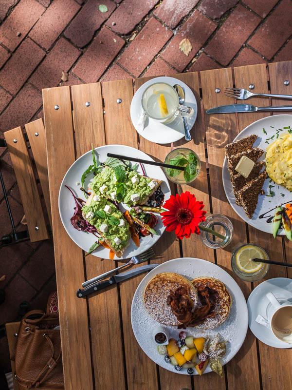 Full breakfast table in Hamburg at Cafe von der Motte