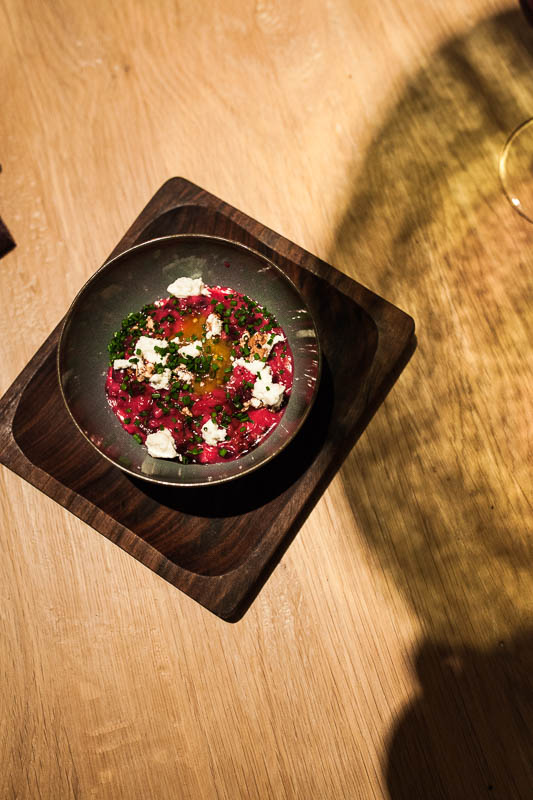 Creamy beet root risotto at the Hygge Restaurant